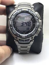 Casio Pro Trek Men's Solar Triple Sensor Titanium Band 57mm Watch PAG240T-7-H38