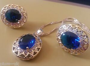 SET Blue Sapphire +Diamante Gold GF Matching Oval Cut Necklace Earrings PlumBOXD