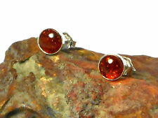 AMBER   Sterling  Silver  925  Gemstone Earrings / STUDS  -  8 mm  -  Gift Boxed