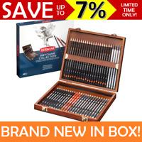 WOODEN BOX 48x Derwent Sketching Collection Pencils Set Sketch Graphite R0700759