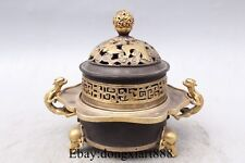 "7"" China Bronze 24K Gold Silver Elephant Nose Beast Incense Burner Censer"