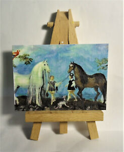 Horses and Grooms ACEO Original PAINTING a Ray Dicken a Roelandt Savery