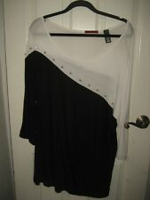 BKE red Black and White Tunic Style Top with Stud Trim Size L
