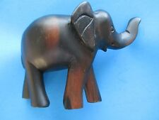 """New Handcrafted Elephant Dark Brown Wood Carving 6"""" L. Free Shipping"""