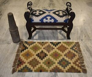 Indian Jute 2x3 Feet Out/In Door Mat Multi Color Patchwork Small Rug DN-1843