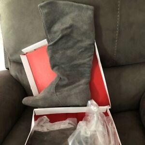 Style & Co. Kasee Women's Gray Suede Leather Knee High Slouch Boots Grey NEW