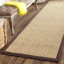 "Safavieh Natural Fiber Seagrass Natural / Dark Brown Runner 2' 6"" x 14'"