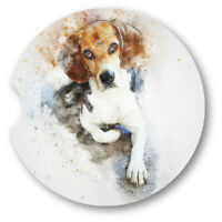 Watercolor Style Beagle Portrait Sandstone Car Coasters - Matching Pair