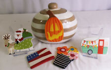 HAPPY EVERYTHING Laura Johnson Collection Mini Cookie Jar & 5 ATTACHMENTS FLOWER