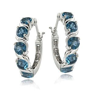 Sterling Silver 3.00ct TGW London Blue Topaz S Design Hoop Earrings