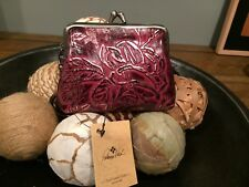 NWT Patricia Nash Metallic Bark Leaves Coin Purse - Plum/Silver - LAST ONE!