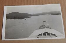 Postcard Battleship HMS Nelson On Panama Canal With Ships Biplane 1930's