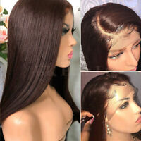 Best #2 Dark Brown Straight Body Wave Lace Front Wig Indian Remy Human Hair Wigs