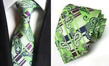 Verde y Cachemira Morado con Diseño Hecho a Mano 100%Corbata de Seda