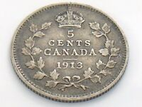 1913 Canada Small Five 5 Cent Silver Circulated Canadian George V Coin I463