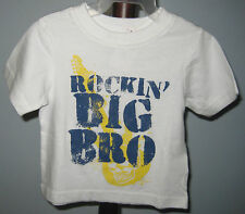 New THE CHILDREN'S PLACE Boys Size 6-9 Months White Big Bro Short Sleeve T-Shirt