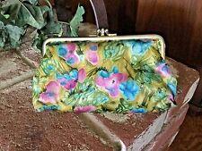 Vintage 1960's Makeup/Clutch Wallet Bag 2 Compartments Floral Pattern