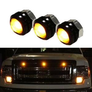3pcs DC 12V 3W LED Amber Grille Lighting Kit Universal Lamp Car Accessories Kit