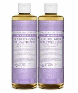 Dr Bronner`s Organic Lavender Castile Liquid Soap 473ml - Vegan (Pack of 2)