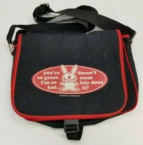Vintage Jim Henson's Happy Bunny Black Canvas Messenger Shoulder Bag Purse