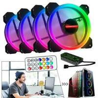 4-Pack RGB LED Quiet Computer Case PC Cooling Fan 120mm with 1 Remote Control