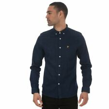 Men's Lyle And Scott Indgo Long Sleeve Button Down Collar Shirt in Blue