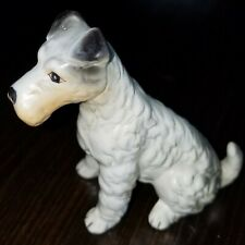 """Vintage Bone China Dog """"Terrier"""" Taiwan Sticker 3 1/2"""" Tall and Long Perfect"""