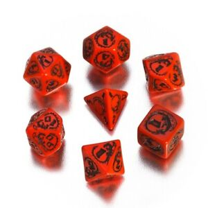 Dragons Dice - 7 Piece - Red and Black