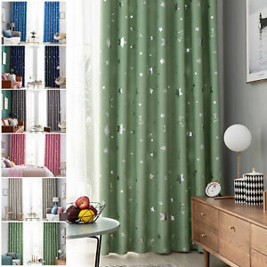 Single 1pcs Star Blackout Window Curtains for Kids Girls Boy Bedroom Living Room