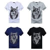 Hommes Hauts à manches courtes 3D Imprimé Loup T-shirt Tops Blouse Shirts Tee