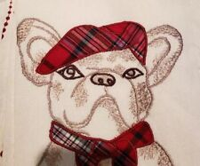 NWT Cynthia Rowley French Bulldog Christmas Set 2 Embroidered Kitchen Tea Towels
