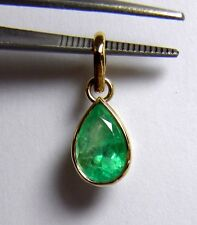 2.51CT BRIGHT GREEN NATURAL EMERALD SOLITAIRE PENDANT 18K GOLD