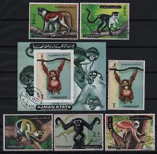 001. Ajman 1972 Animals, Monkeys, set + block used