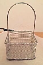 "SILVER SQUARE WIRE MESH BASKET WITH HANDLE VERY STURDY--3""x3""x2"" Deep, 6"" TALL"