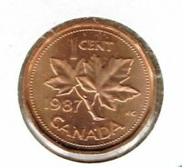 1987 Canadian Uncirculated One Cent Elizabeth II Coin!