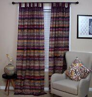 Unique Handmade Cotton Tab Top Curtain Drape Panel Paisley Good Luck Elephant