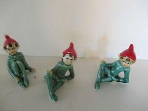 3 Vintage Ceramic Red Green Christmas Santa Elves Japan Figurines