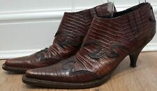 MIU MIU Chestnut Brown Black Leather Pointed Toe Western Cowboy Shoe Boots UK6