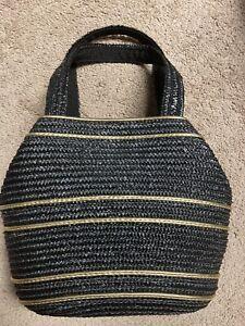 Worthington Black Gold Trim Wicker Straw Rattan Shoulder Bag Purse