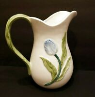 Vintage Pink and Blue Flower Pitcher Made in Japan