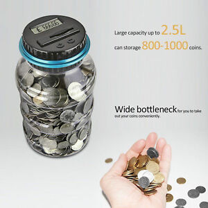 Digital Piggy Bank LCD Counter Electric Pound Coin  Money Saving Collecting Jar