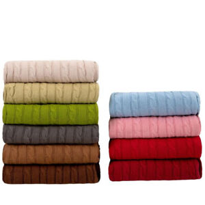 New soft snugly Cable knitted throw blanket for beds sofa armchair 120x180cm