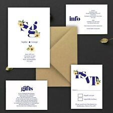 WEDDING INVITATIONS Personalised Monogram Navy & Lemon Yellow PK 10