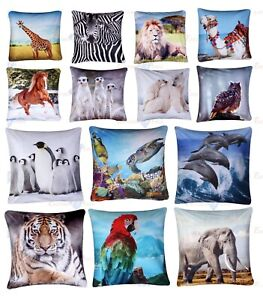 "Luxury Digital Printed Velvet 3D Animal Themed Square Cushion Covers (18"" x 18"")"