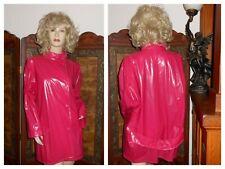 Vtg M/L Rainskins Shiny Pink pvc Raincoat vinyl Trench Coat plastic rain jacket