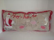 Pottery Barn Kids Ho Ho Ho Santa Reindeer Long Lumbar Christmas Holiday Pillow