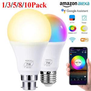 LED Wifi Smart Light Bulb Dimmable RGB Lamp E27 B22 For App Alexa Google Home UK