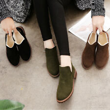 Women Vintage Autumn Winter Round Toe Warm Fur Snow Boots Shoes Fashion Solid
