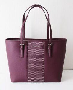 Michael Kors Bag Shopper Micro Stud Sm Carry All Tote Bag Plum