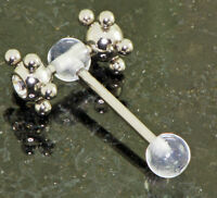 """1 Pc UV Clear ball with CZ Multi Steel Ball Spinner Tongue Ring 14g 5/8"""""""
